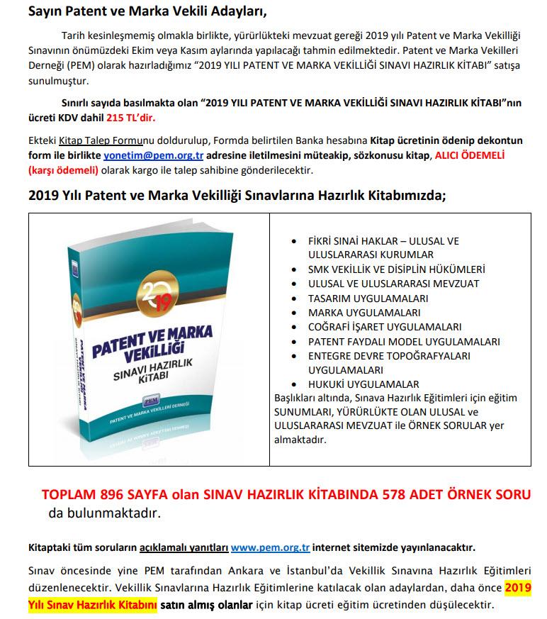 PEM - Marka ve Patent Vekilliği Sınavı Hazırlık Kitabı